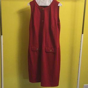 Talbots red sleeveless button dress